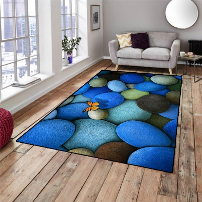 Else Blue Black Stones Little Butterfly 3d Pattern Print Non Slip Microfiber Living Room Decorative Modern Washable Area Rug Mat