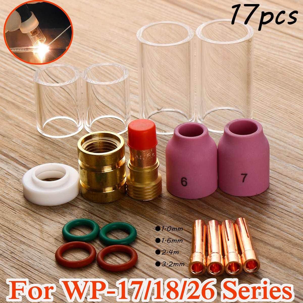 Nouveau 17 Pcs 1.0mm/1.6mm/2.4mm/3.2mm TIG Torche De Soudage Tronqué Gaz Objectif isolant Collet Corps Accessoires pour WP-17/18/26 Série