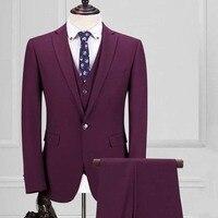Изготовление под заказ мужские костюмы Сельма трех частей фиолетовый red one button Корея жениха торжественное платье костюмы виньетки костюм с