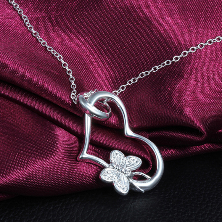 2017 New Fashion New Charms Fine Jewelry Heart Butterfly Necklace Pendant Gift Silver color Neck Chain