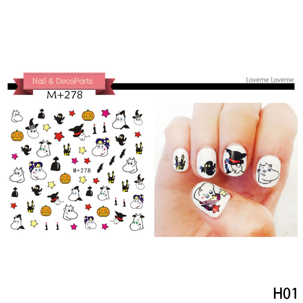 Etereauty Halloween Nail Sticker Nail Art Decals Full Wrap Stickers Set