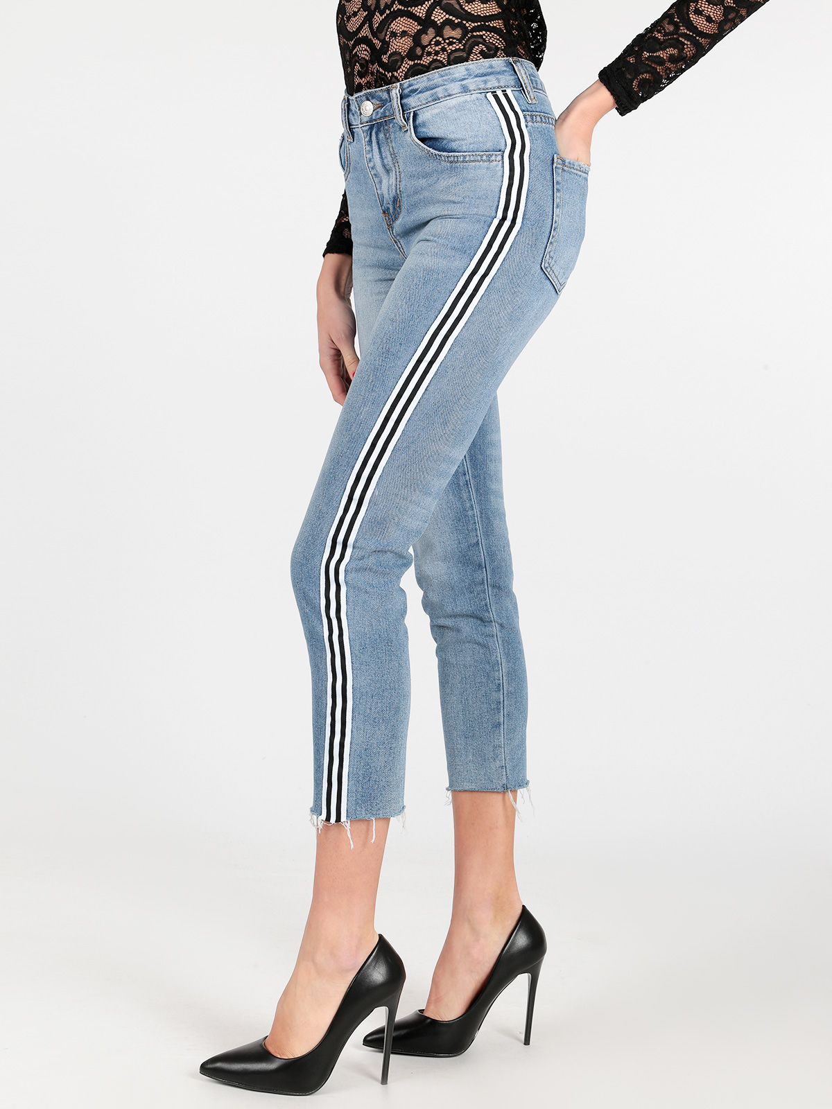 SOLADA Black White Stripe Three Quarter Pencil Pants Jeans Woman Skinny Elastic Slim Mathcing Turnup Distress