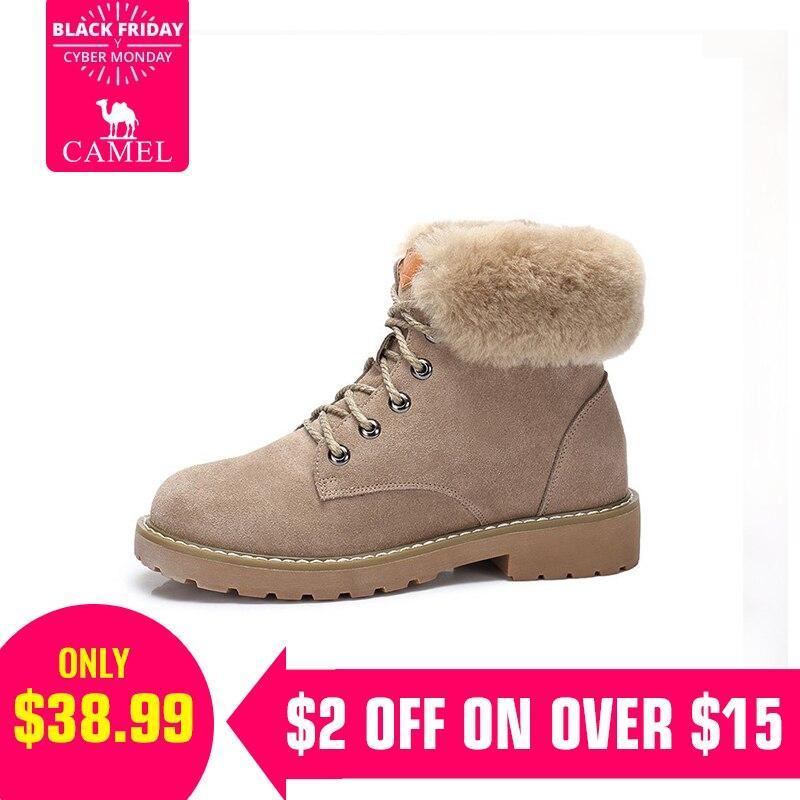 53ee3382d Купить Верблюд полусапожки для Для женщин 2018 г. Зимние Модные ботильоны  обувь Для женщин Утепленная одежда Удобная обувь для дам Продажа Дешево