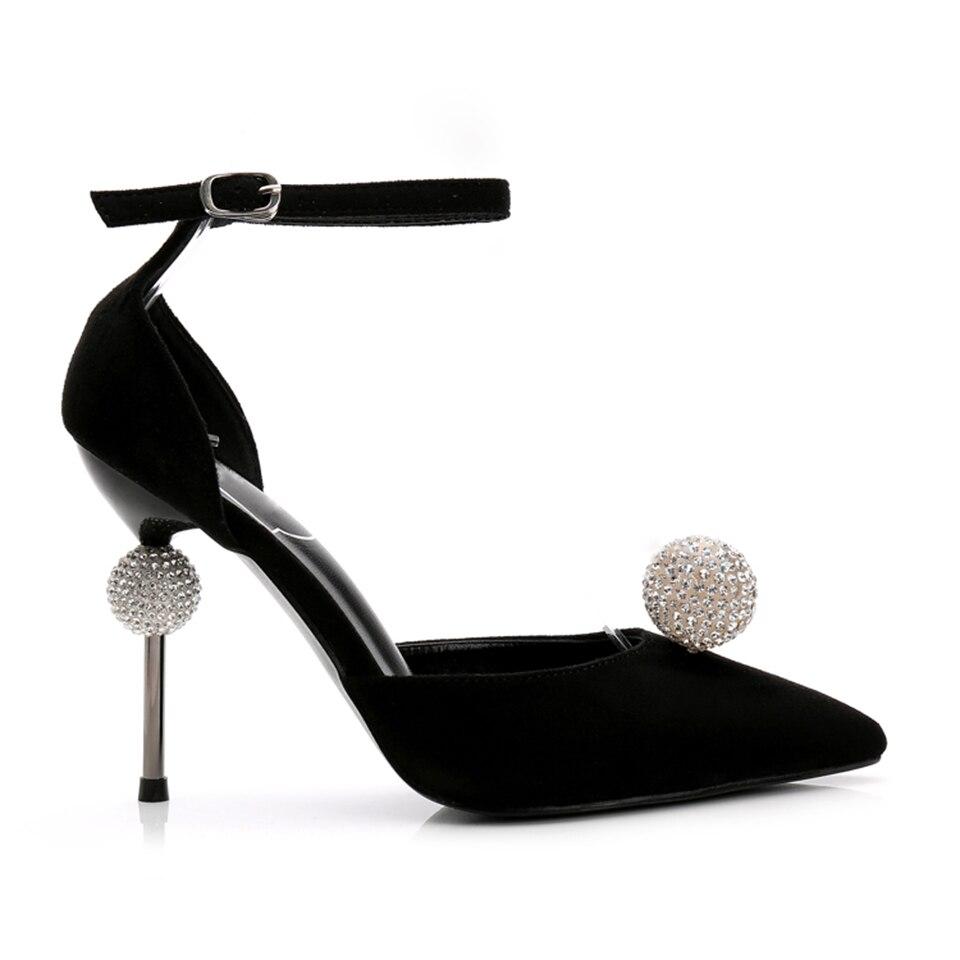 Negro Tacón Tobillo Black Toe Suede Rhinestone Mujer Nupcial Boda Plata Mujeres Tela Cristal Correa Sequine Zapatos Lentejuelas De Punto red silver Bombas Alto Rojos wHaOUfqzH