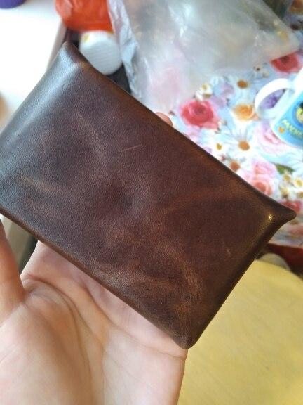 Vintage lederen creditcardhouder Creditcardhouder Oude klassieke kleine portemonnee met snap ID-houder zacht leer photo review
