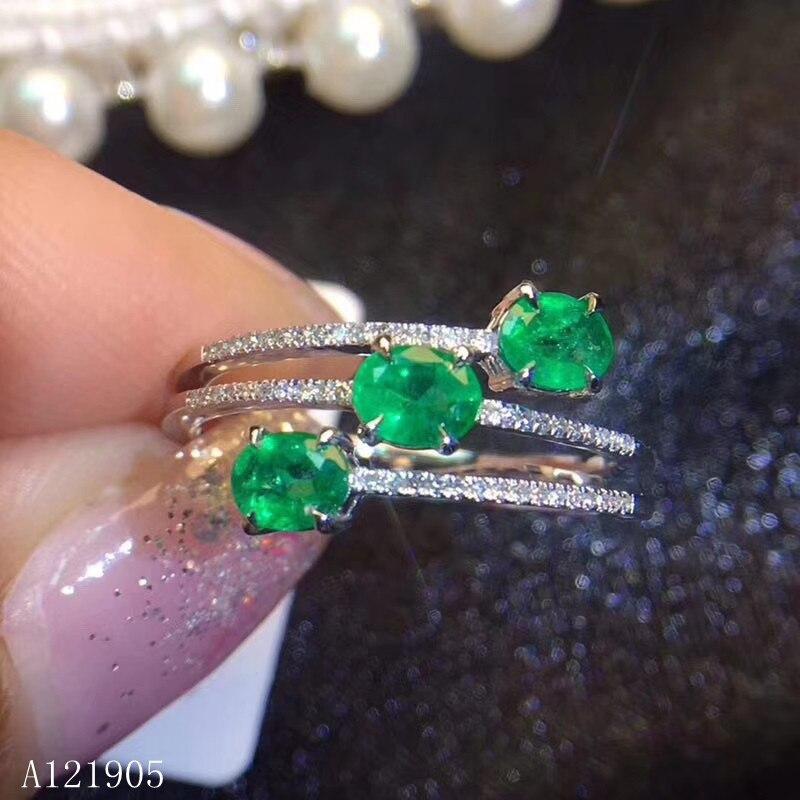 KJJEAXCMY boutique bijoux 925 argent sterling incrusté naturel émeraude vert pierre gemme femelle anneau support détection