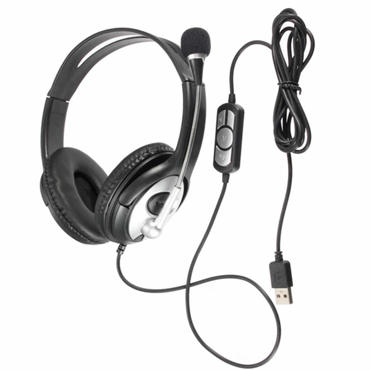 Practical USB Stereo Headphone Gaming Headset Earphone with Microphone for PC Laptop Notebook Music Gift