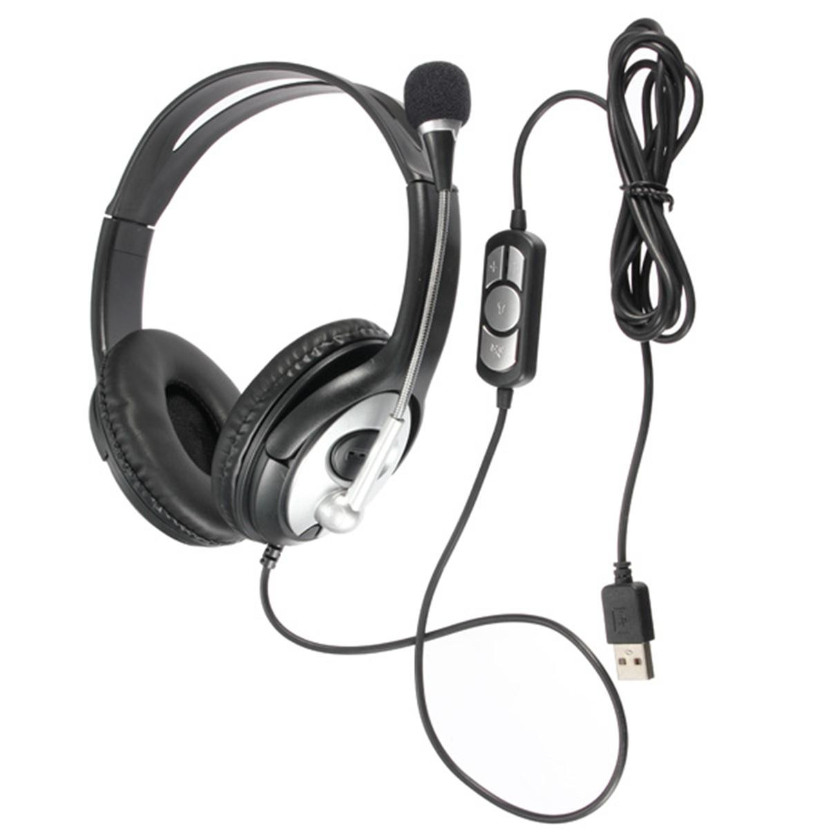 Practical USB Stereo Headphone <font><b>Gaming</b></font> Headset <font><b>Earphone</b></font> <font><b>with</b></font> <font><b>Microphone</b></font> for PC Laptop Notebook Music Gift image