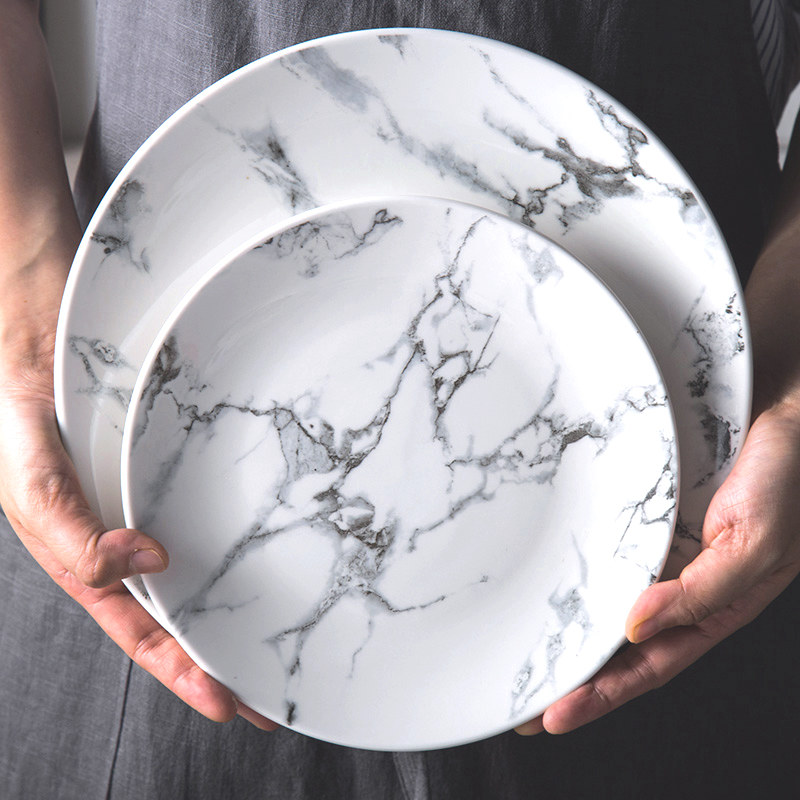 6 Inch 8 Inch 10 Inch Marble Pattern Porcelain Plate