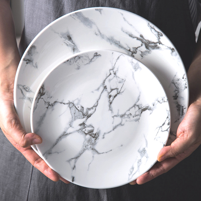 6 Inch 8 Inch 10 Inch Marble Pattern Porcelain Plate Ceramic Dinner Plate  Tableware Dinner Set