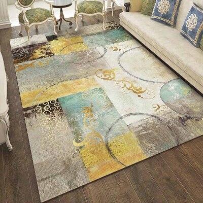 Else Yellow Green Gray Brown Vintage Geometric 3d Print Non Slip Microfiber Living Room Decorative Modern Washable Area Rug Mat