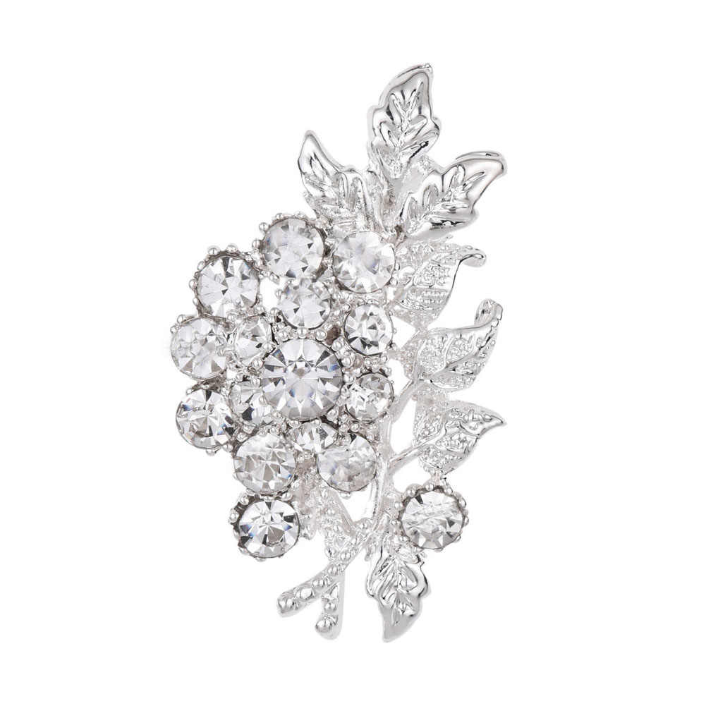 Luxury Woman Flowers Leaves Rhinestone Brooches Flowers Leaf Crystal For Wedding Jewelry Scarf
