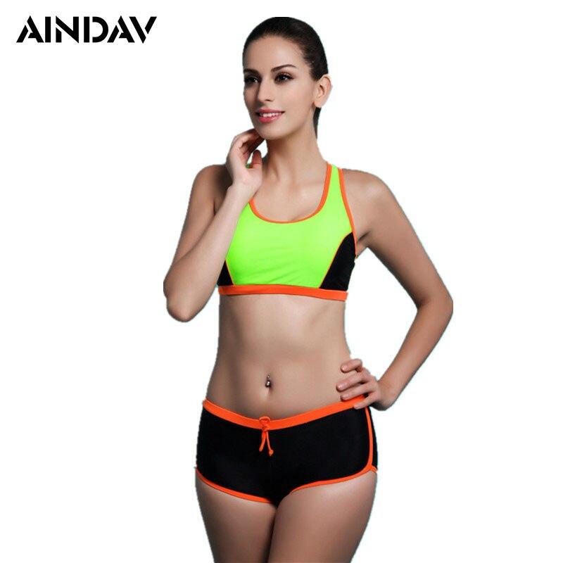 Brand New Padded Bikini Set Sport Suits Beach Bikinis Bathing Suits Push Up Swimsuit Women Swimwear with Athlete Boxer Shorts
