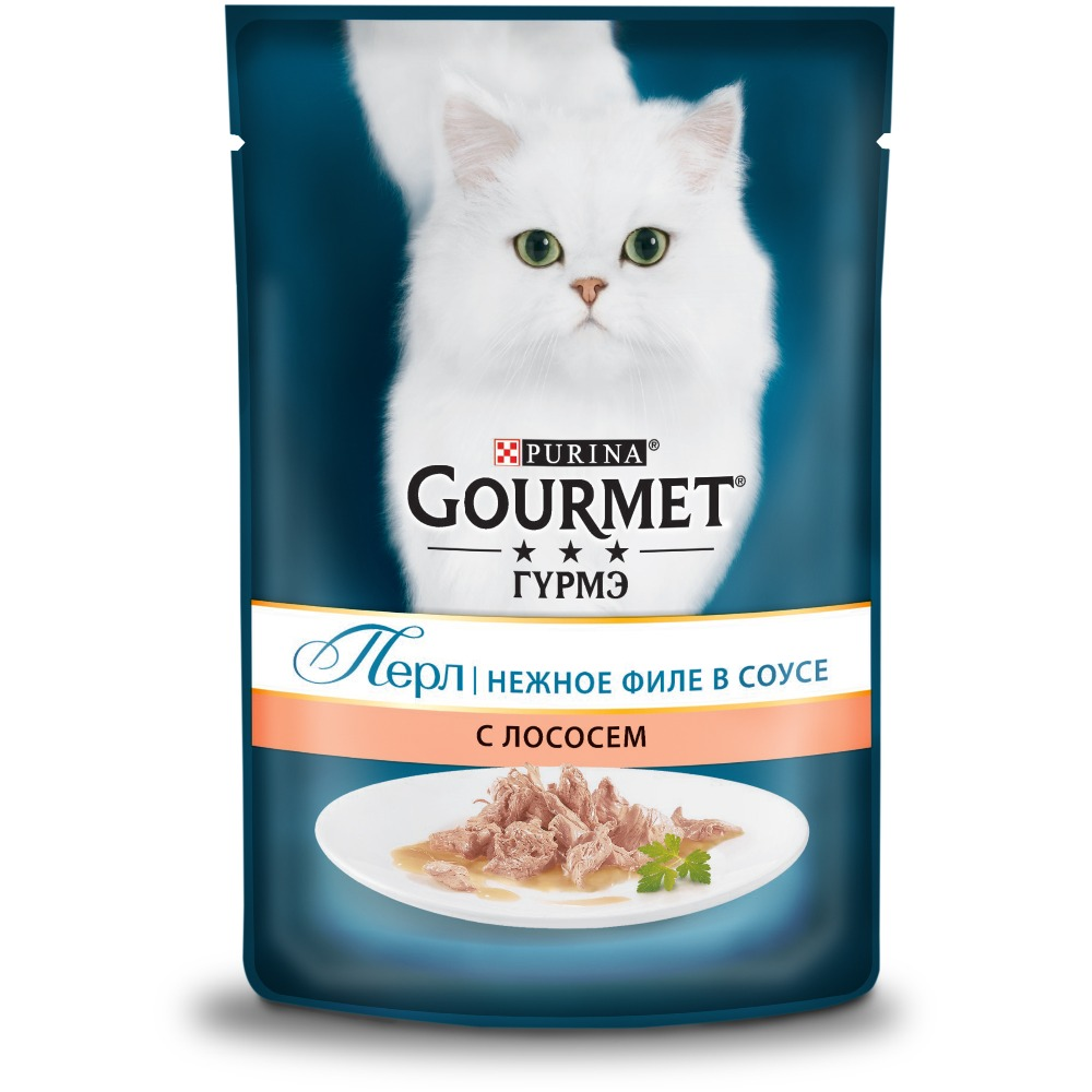Wet food Gourmet Perle Mini Fillet for cats with salmon, Pouch, 24x85 g. цены онлайн