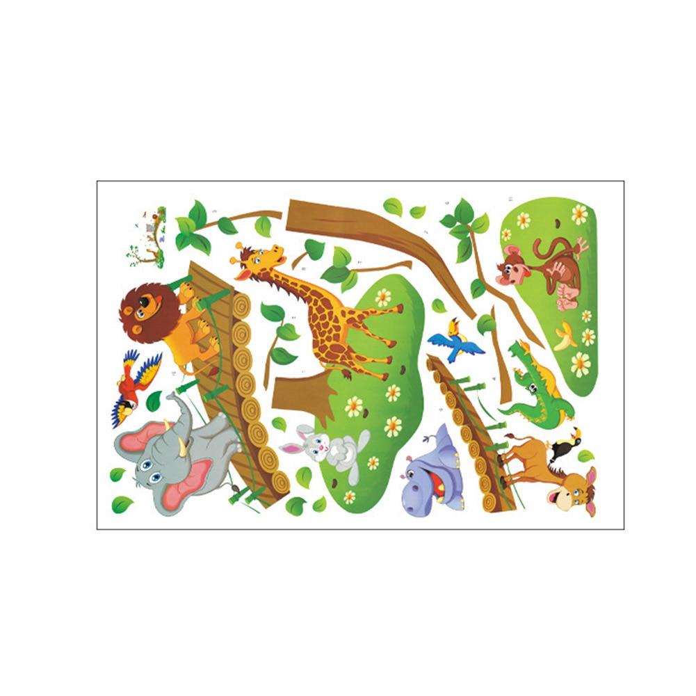 New 3d Kartun Hutan Liar Hewan Pohon Jembatan Singa Jerapah Gajah