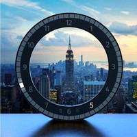 LED Multifunction Electronic Clock Creative Mute Hanging Wall Clock Black Circle Automatically Adjust Brightness Desk Clock