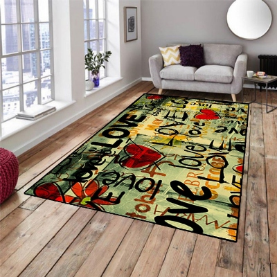 Else Love Writen Red Hearts Vintage 3d Print Non Slip Microfiber Living Room Decorative Modern Washable Area Rug Mat