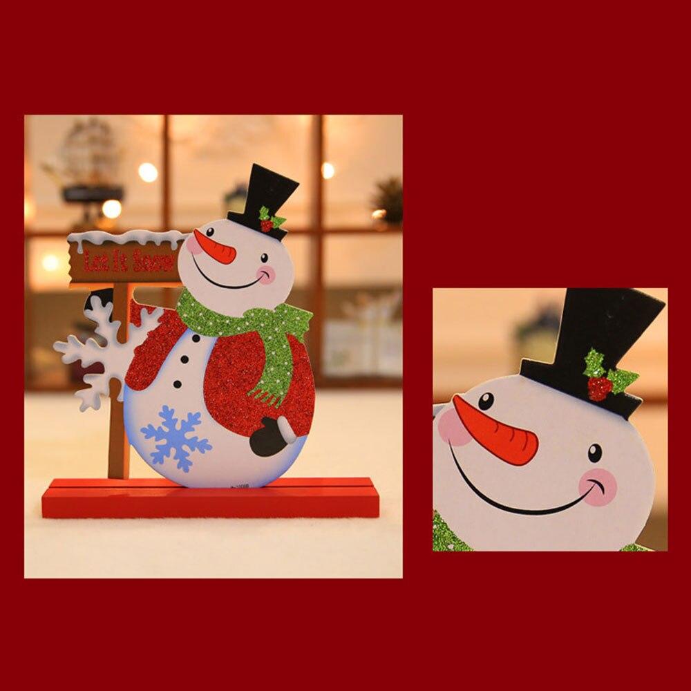 2 stks Vrolijk Christus-mas Houten Craft Orna-ment Desktop Tafel Decor-atie Navidad Rein-herten santa Sneeuwpop Stand Xmas Gift voor Kinderen