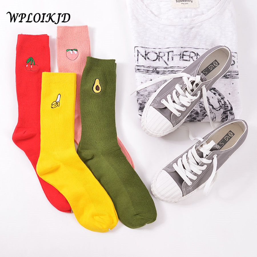 [WPLOIKJD] Cute Cartoon Fruit Print Banana Cherry Peach Avocado Kawaii   Socks   Meias Korea Harajuku Emabroidery Heap Funny   Socks