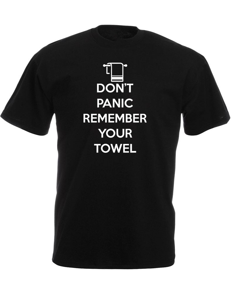 Online T Shirts MenS DonT Panic Remember Your Towel Crew Neck Cotton Short Sleeve Shirts
