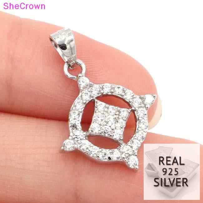 2018 Real 925 Solid Sterling Silver 8.2ct Top AAA + Putih Zirkonia Kubik Hadiah untuk Anak Perempuan Wanita Liontin 24X16 Mm