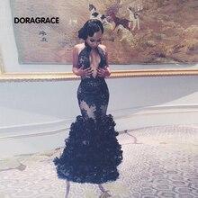 robe de soiree Sexy High Neck Floor-Length Mermaid Applique Ruffles Prom Dress Evening Dresses DGE021