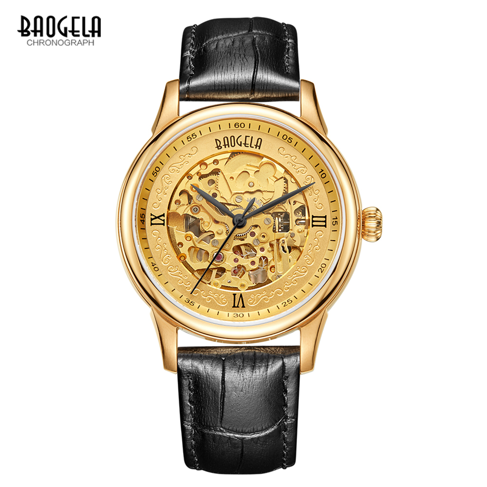 цена на Baogela Men Watch Skeleton Automatic Mechanical Leather Band Mans Fashion Business Watches