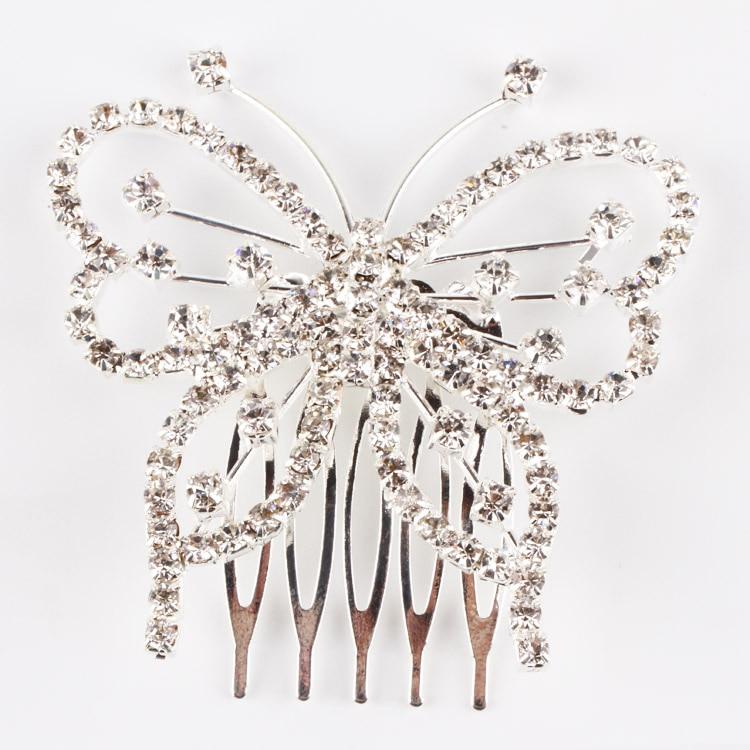 1pcs Elegant Butterfly Rhinestone Comb Clip Wedding Bridal Headwear Accessories font b Tiara b font font