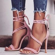 2019 Sexy Pink Heels Sandals Women Sandals Summer Peep Toe Ankle Lace-up Cut-out Gladiator Sandals Women Tie-up Dress Shoes
