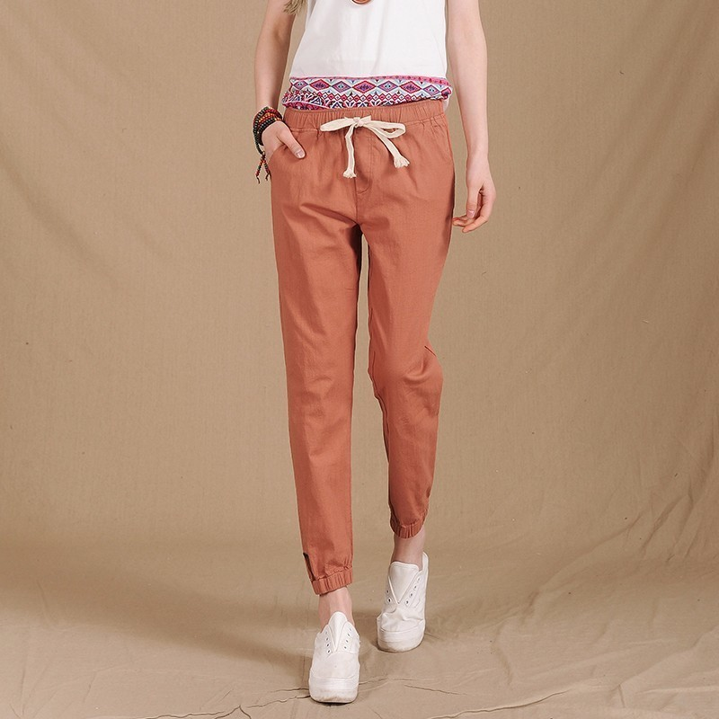 2018 Women Summer   Pants   Elastic Waist Casual   Pants   Fashion Cotton Linen Crops Pencil   Pants   Lady Loose Harem   Pants     Capris   F199