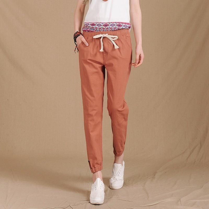 2018 Women Summer   Pants   Elastic Waist Casual   Pants   Fashion Cotton Linen Crops Pencil   Pants   Lady Loose Harem   Pants     Capris   F199