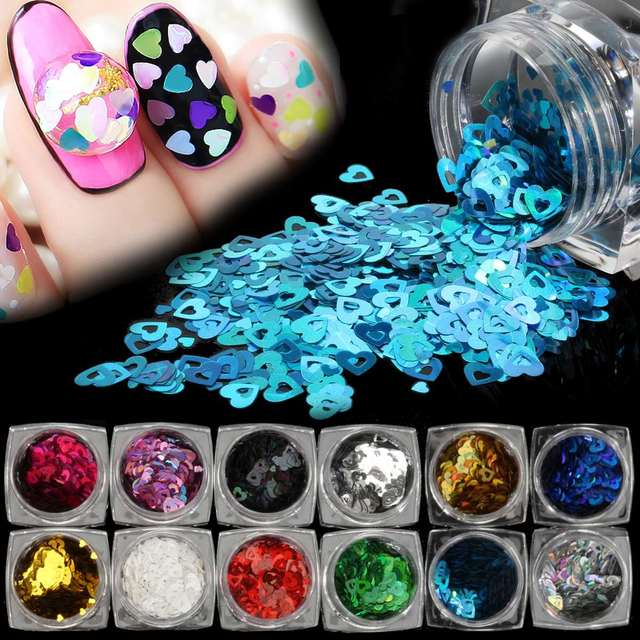 12 Colors Iridescent Sequins Heart Pattern Nail Glitters Set 3D Hollow Acrylic Nail Tip Decorations DIY Manicure Tools 2018 New-in Nail Glitter from ...