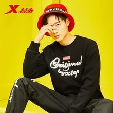 цена на Xtep Men's Sports Hoodies Sweater Autumn New Fashion Round Neck Breathable Letter Print Hoodies 881129059340
