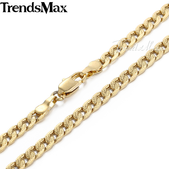 Trendsmax Dropship Wholesale Jewelry 4mm Curb Gold Filled Necklace Mens Womens Chain GN61