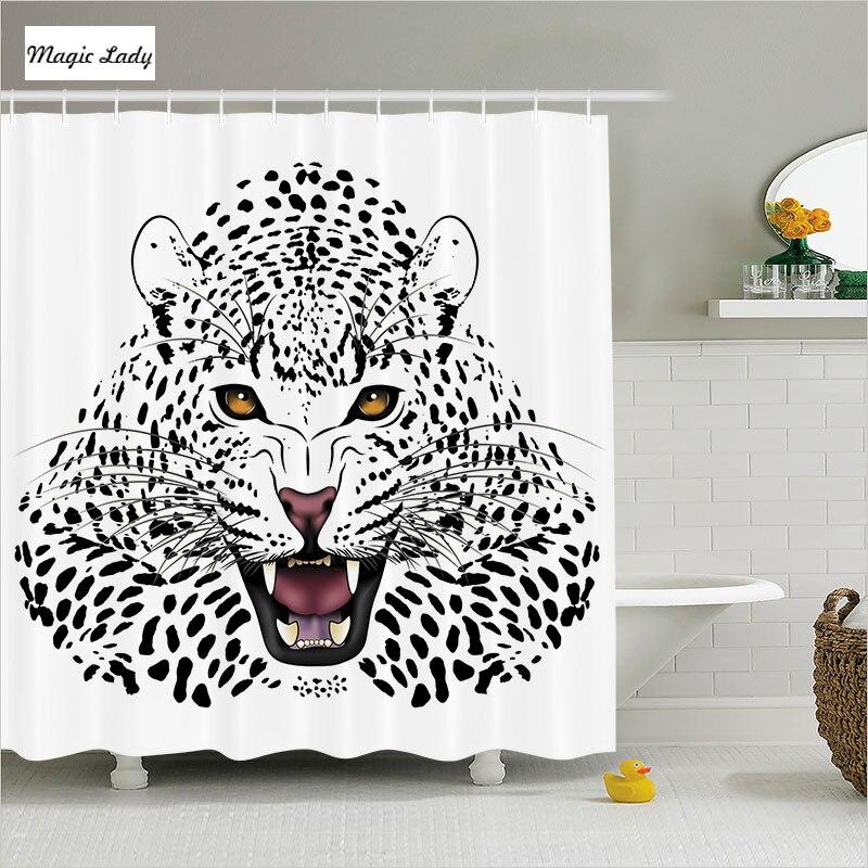 Shower Curtain Animal Print Bathroom Accessories Safari ...