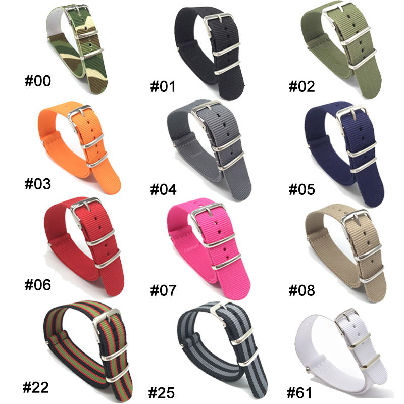 Wholesale Stripe black Nylon canvas Watch strap 18 20 22 24mm Band Buckle Multi Color Army Military nato fabric watchbands Strap