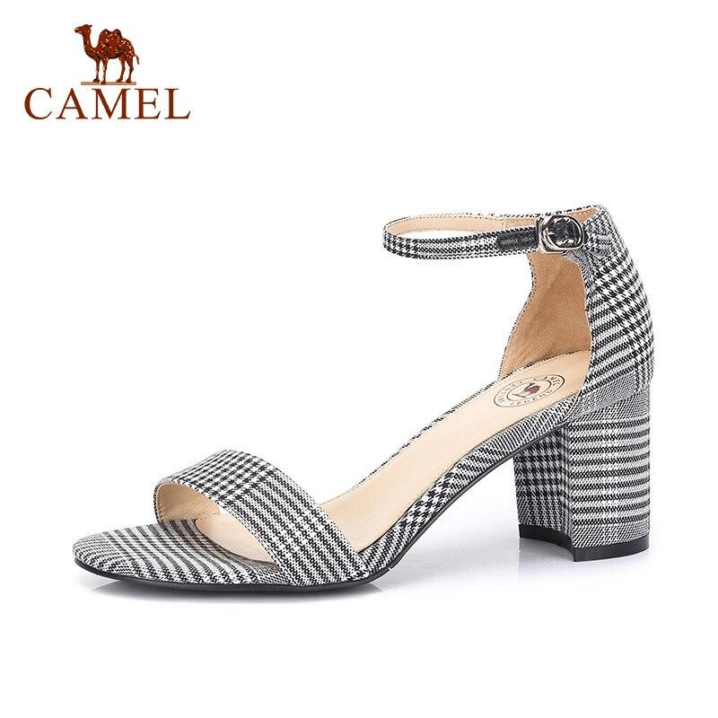 CAMEL Ladies Casual Retro Denim High Heel Sandals Women Fashion Expose Toe Shoes For Ladies Comfort
