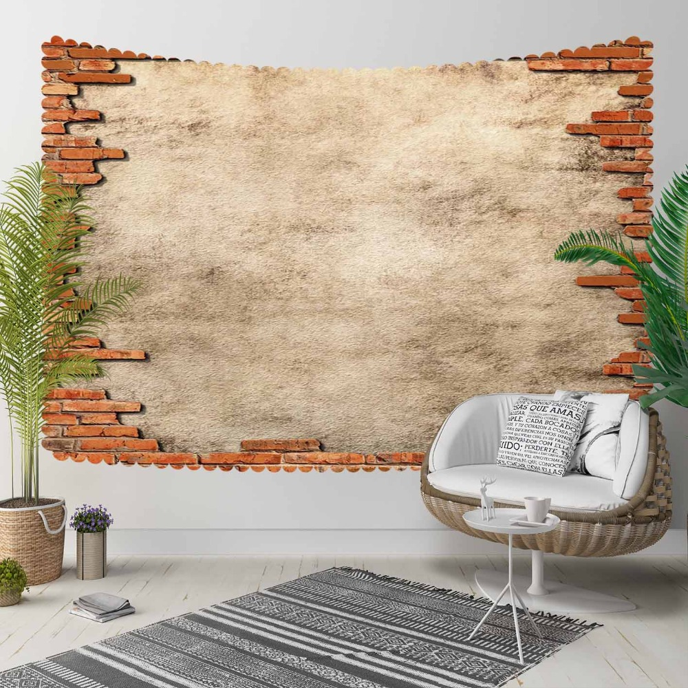 Else Brown Brick  Stones Aging Vintage  Wall 3D Print Decorative Hippi Bohemian Wall Hanging Landscape Tapestry Wall Art