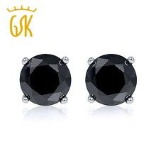 0.50 Ctw черный бриллиант серьги в твердом 14 К белый