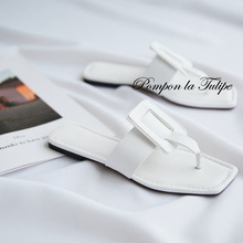 BHS 901183 Chic Square Toe 1CM Flats Beach Slipper Genuine Leather Stylish Sandals Sheepskin Fashion Women Shoes Party Wedding