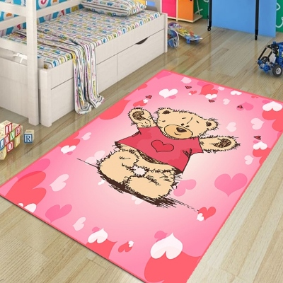 Else Pink White Hearts Funny Cute Bears 3d Print Non Slip Microfiber Children Kids Room Decorative Area Rug Kids  Mat