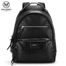 Король и Поцелуй Моды для мужчин рюкзак Пользовательские PU кожа черная Выдалбливают кисточкой прилив пакет Для женщин сумка рюкзак для ноутбука # KK7004