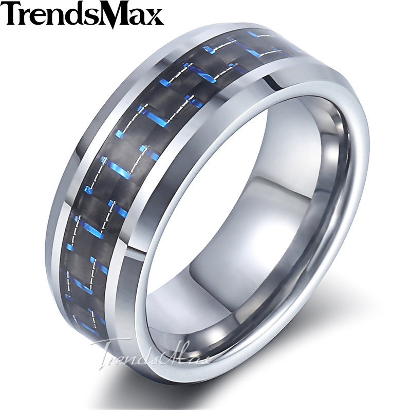 8mm Classic Wedding Ring for Men Blue / Red Color Stainless Steel Tungsten Band Ring US size 8-13 Dropshipping Jewelry KTRM02 men s classic black tungsten steel cool ring page 4