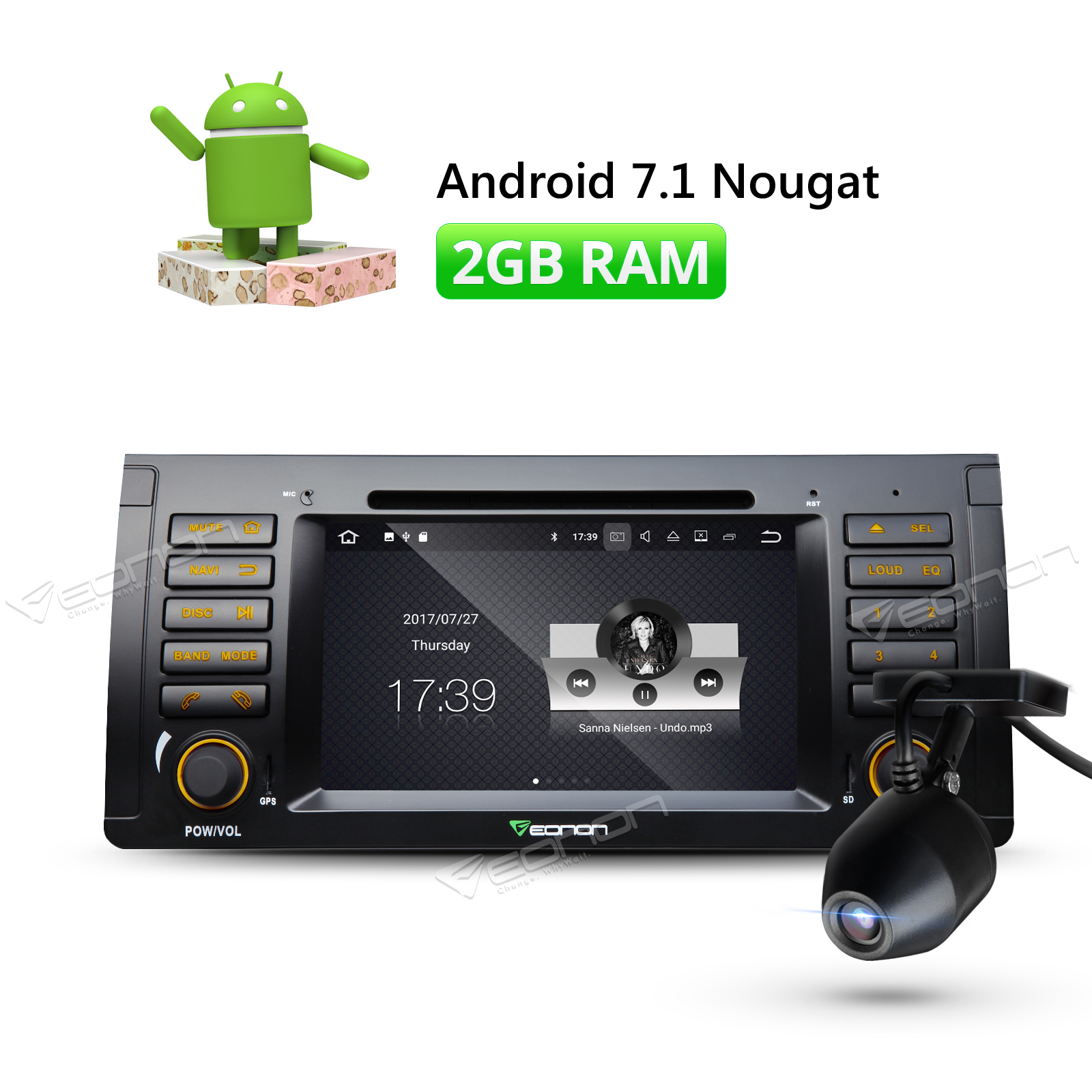 Dashcam dvr 7 inch android 7 1 in dash car stereo dvd gps navigation system touchscreen 2gb