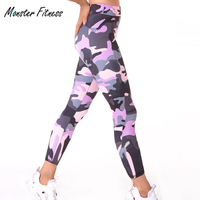 Monster Fitness Leggings Women Workout Gym Yoga Pants Stripe Camouflage Sports Leggings Fitness Stretch Trouser