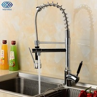 Cold Hot Water Tap Water Tank Pull Out Spring Single Handle Chrome Brass Spray Inlet Pipe