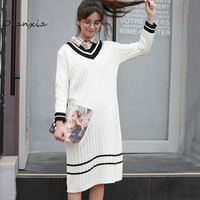 Dianxia Preppy Style Dresses Fall 2017 Fashion Woman Autumn Winter V Neck Striped Long Knitted Black