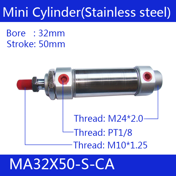 Free shipping Pneumatic Stainless Air Cylinder 40MM Bore 50MM Stroke , MA40X50-S-CA, 40*50 Double Action Mini Round CylindersFree shipping Pneumatic Stainless Air Cylinder 40MM Bore 50MM Stroke , MA40X50-S-CA, 40*50 Double Action Mini Round Cylinders