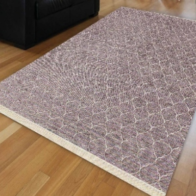 Else Purple White Ogee Spade Authentic Ethnic Turkish Anti Slip Kilim Washable Decorative Plain Paint Woven Carpet Rug