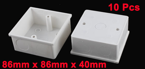 UXCELL Hot 10Pcs 86X86X40mm Mount Back Box White PVC Single Gang Wiring Mount Back Box For Wall Socket Home Office Surface Type